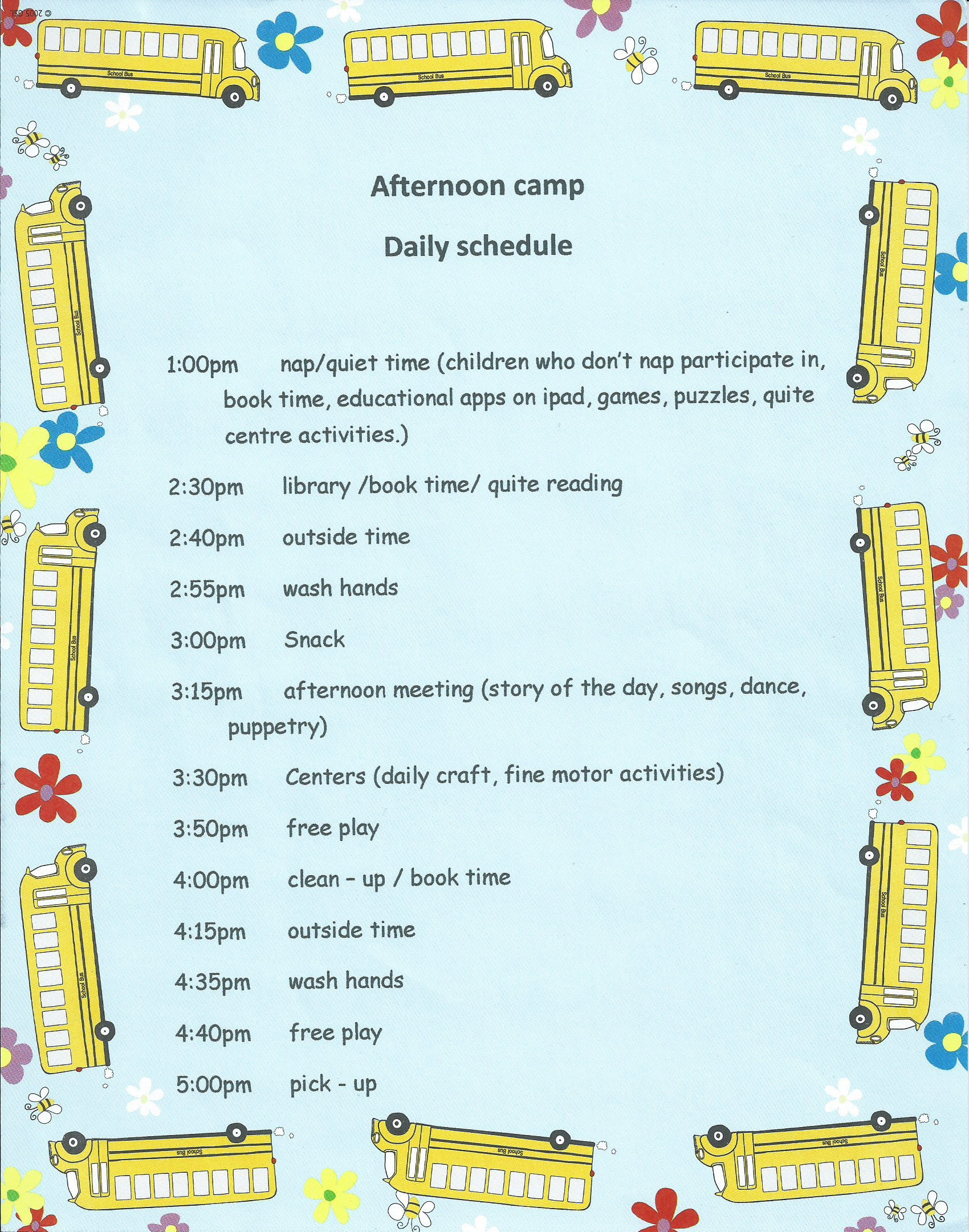 Afternoon Camp Daily Schedule